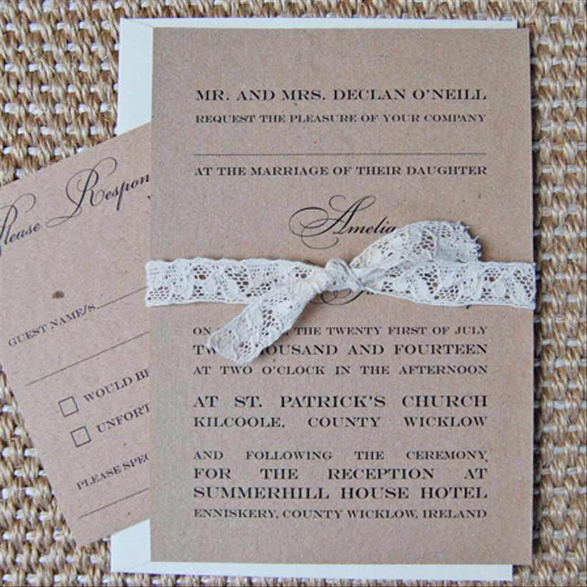 Kraft and Lace Invitation — Lots of Love Invitations