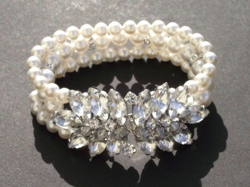 Pearl and rhinestone bracelet, Jules Bridal Jewellery