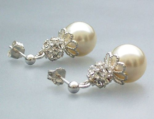 Pearl dropped earrings, Jules Bridal Jewellery