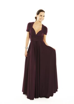 Classic Ballgown Capped Sleeve - Aubergine, twobirds Bridesmaid