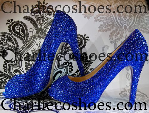 Cobalt Blue Platform Peep Toes, Charlie Co Shoes