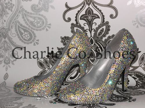 Coral Crystal Stilettos, Charlie Co Shoes