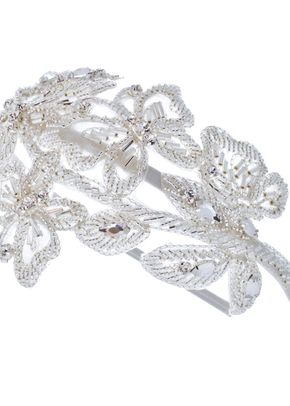 T. Crystal and bead silver fabric side tiara, Disgraceful Grace