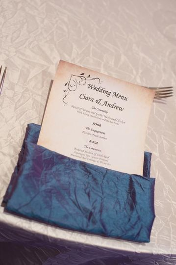 Peronalised Wedding Menus