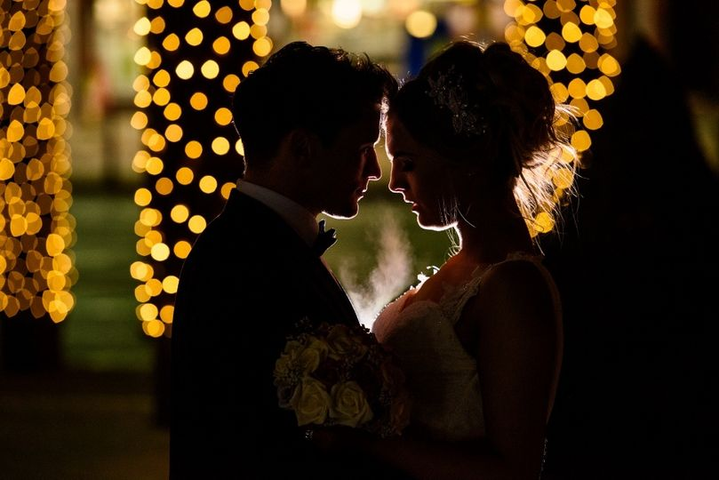 Bride and Groom with twinkling fairy lights