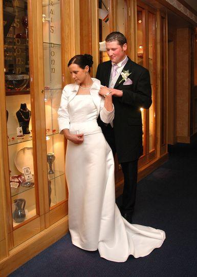 Wedding couple inside Hotel Westport