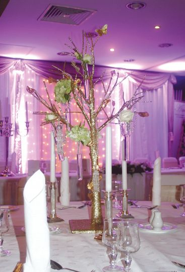 Gold tree centre pieces