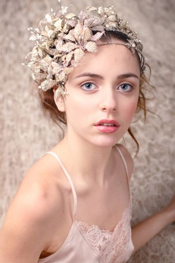 Large bedaed floral double band headpiece