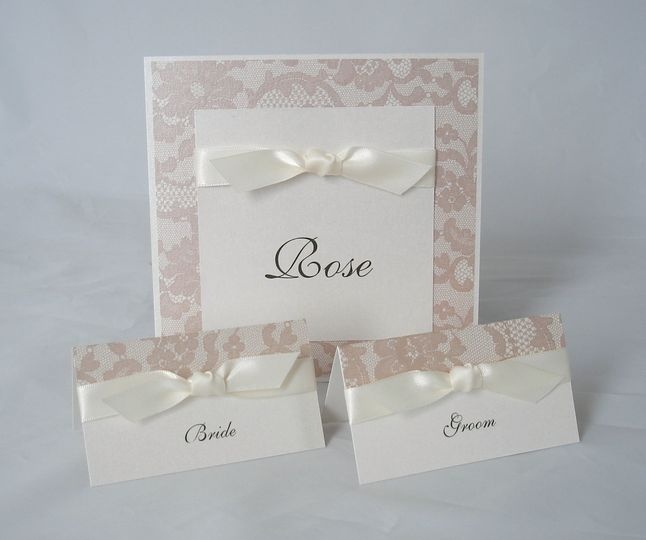 Lace ribbon reception stationery
