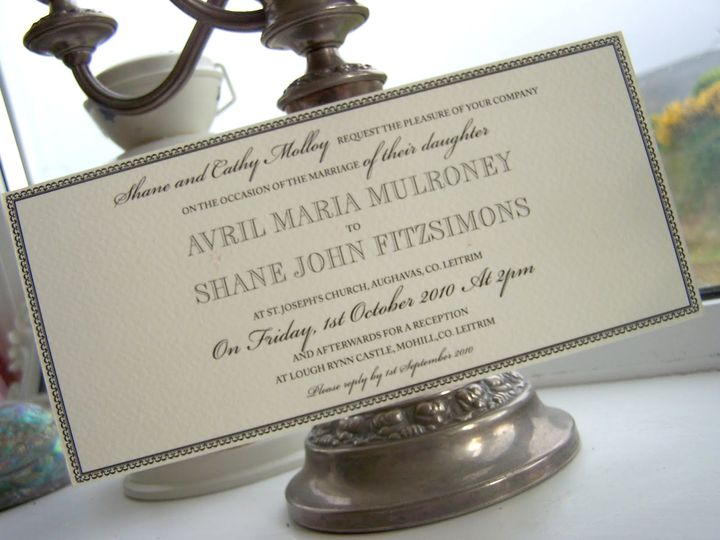 Black and cream wedding invitation