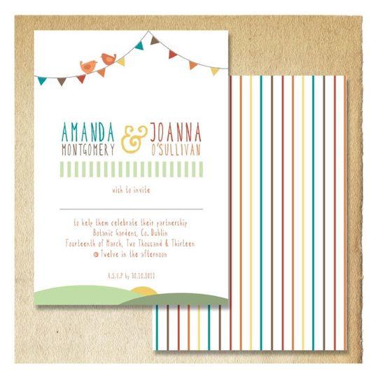 Summer Bunting Wedding Invitation