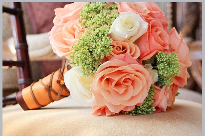 Apricot, Peach and White Rose tied bouquet