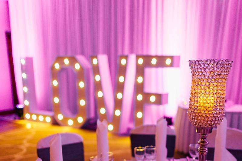 Wedding day with LOVE stand